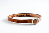 Faith Destroys Fear Hidden Message Skinny Adjustable Leather Bracelet