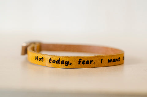 Not Today Fear. Build With Love Skinny Adjustable Leather Bracelet