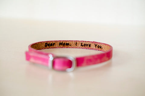 Dear Mom, I Love You.  -  Hidden Message Skinny Adjustable Leather Bracelet