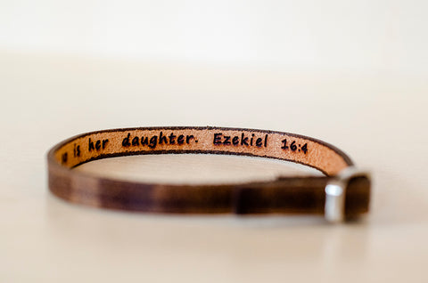 As is the Mother, Ezekiel 16:4  -  Hidden Message Skinny Adjustable Leather Bracelet