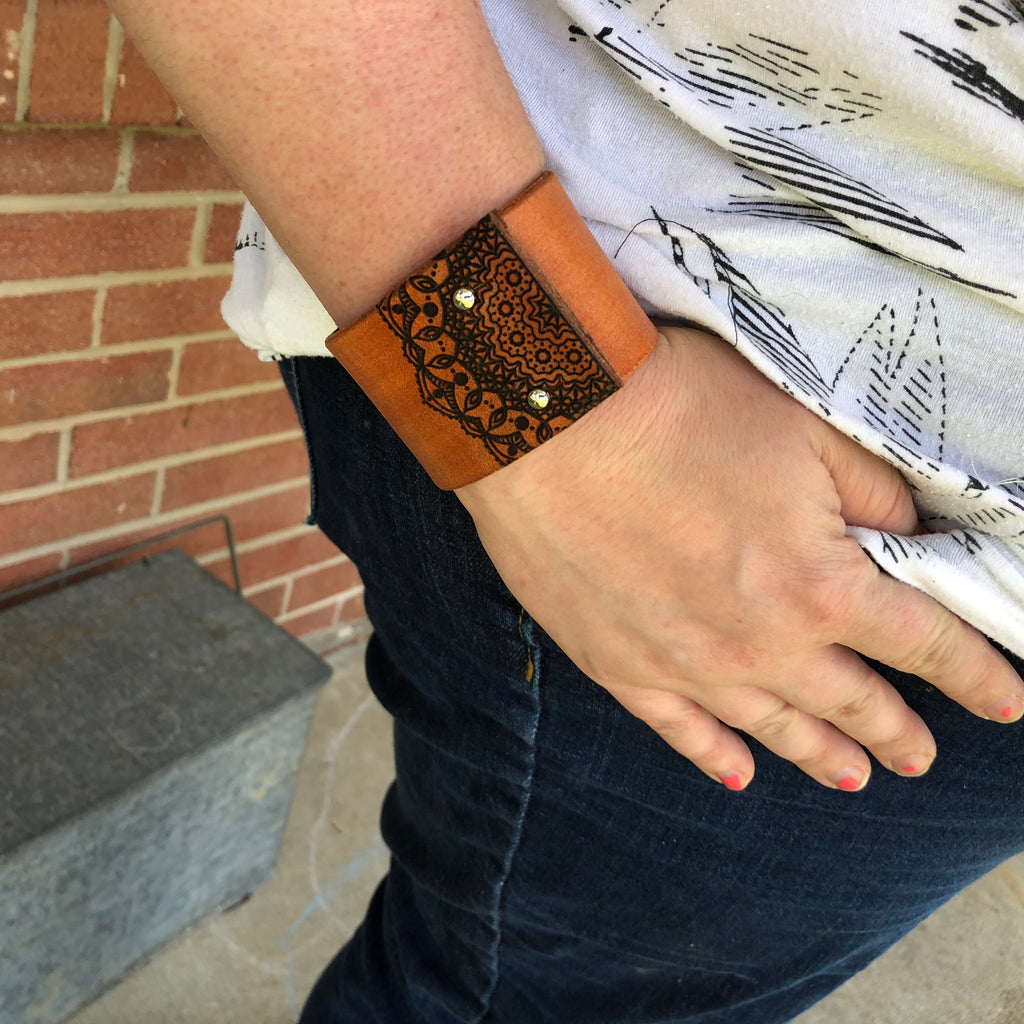 Lace Mandala Angled Design Wide Distressed Leather Cuff