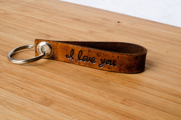 I Love You Custom Leather Keychain with Personalized Date
