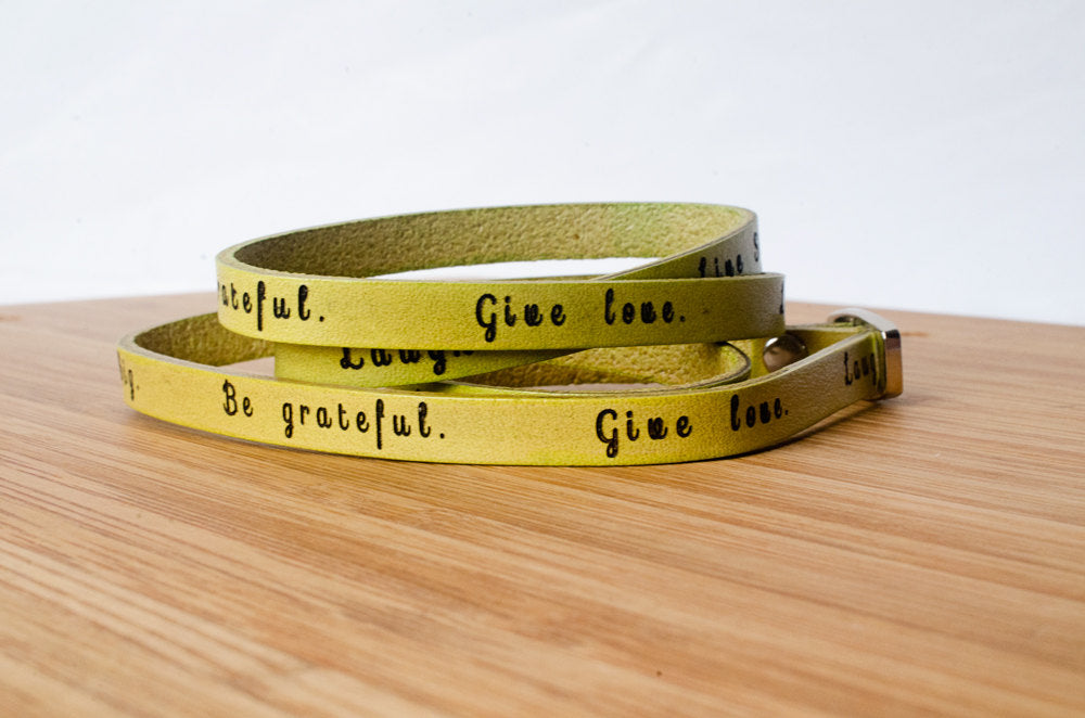 Live Simply. Dream big. Be grateful. Give love. Laugh lots - Ultra Long Wrap Bracelet