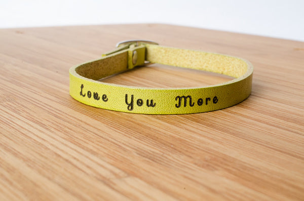Love You More - Single Wrap Leather Bracelet