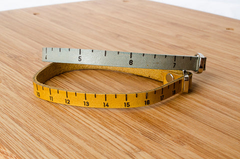 Inch Ruler Measurement Single Wrap Leather Bracelet