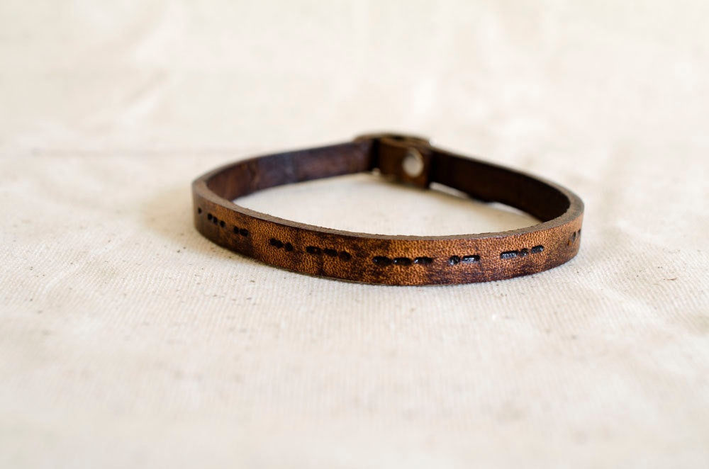 i Love You Morse Code Custom Leather Bracelet