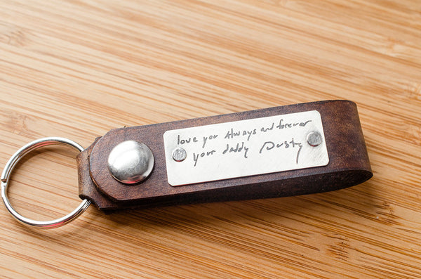 Your Handwriting Custom Leather Snap Keychain