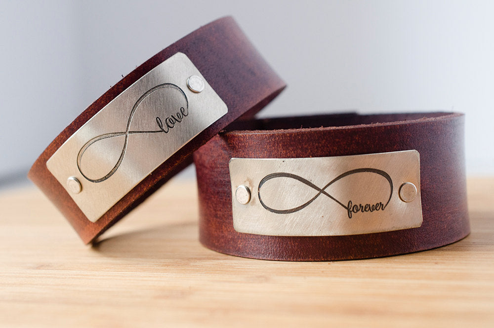 Infinity Love Forever Custom Leather Cuff Set of Two - His and Hers Love Always