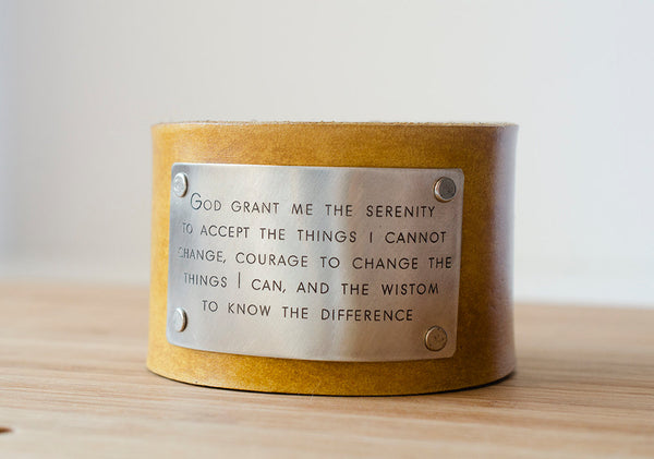 Serenity Prayer God, grant me the serenity  to accept  the things I cannot change - Wide Leather Cuff