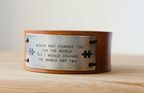 Autism Support  Leather Cuff