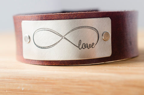 Infinity Love Forever Custom Leather Cuff