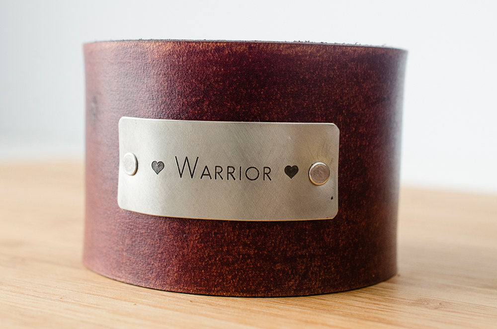 Love Warrior - Wide Distressed Leather Cuff