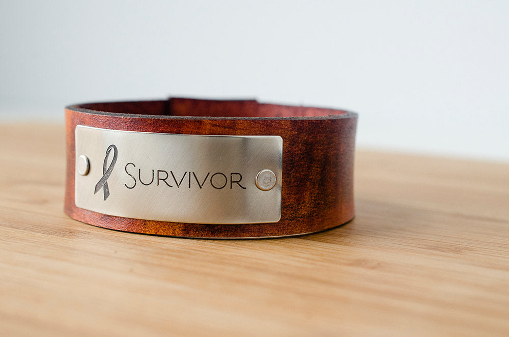 Survivor Awareness Ribbon Custom Leather Cuff