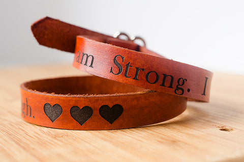 I Am Strong I am Beautiful I am Enough - Wide Wrap Bracelet