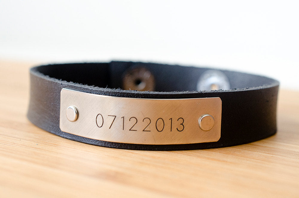 Minimal Custom Date Custom Leather Cuff