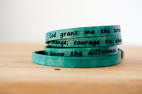 Serenity Prayer on Ultra Long Leather Wrap Bracelet
