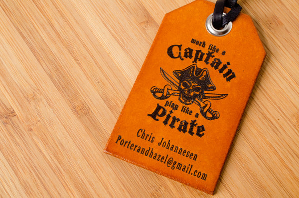 Play Like a Pirate  - Leather Luggage Tag