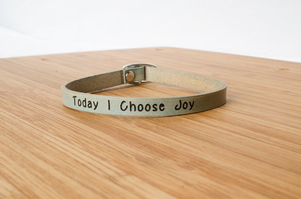 Today I Choose Joy - Single Wrap Leather Bracelet