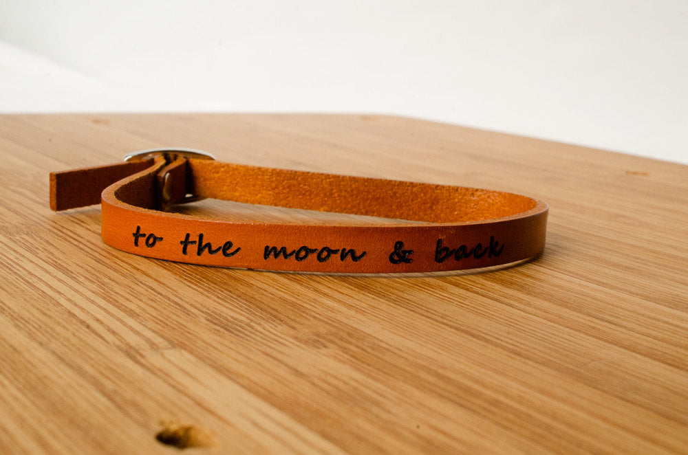To The Moon and Back Custom Single Wrap Leather Bracelet