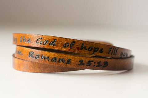 Scripture Bible Verse Leather Wrap Bracelet - Romans 15:13 May the God of hope fill you with all joy