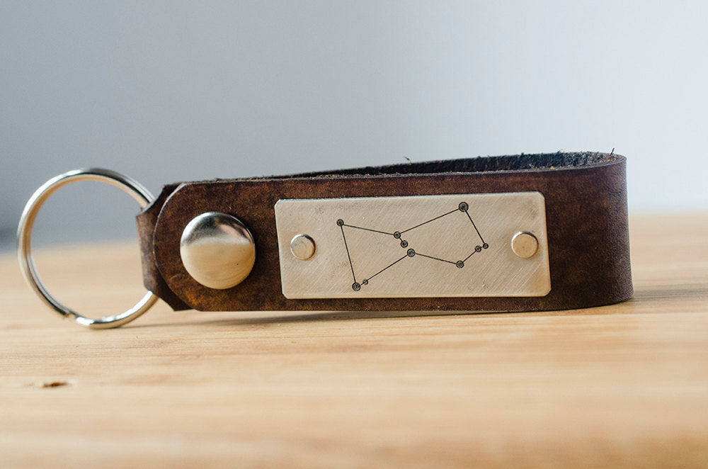 Orion Constellation Leather Keychain