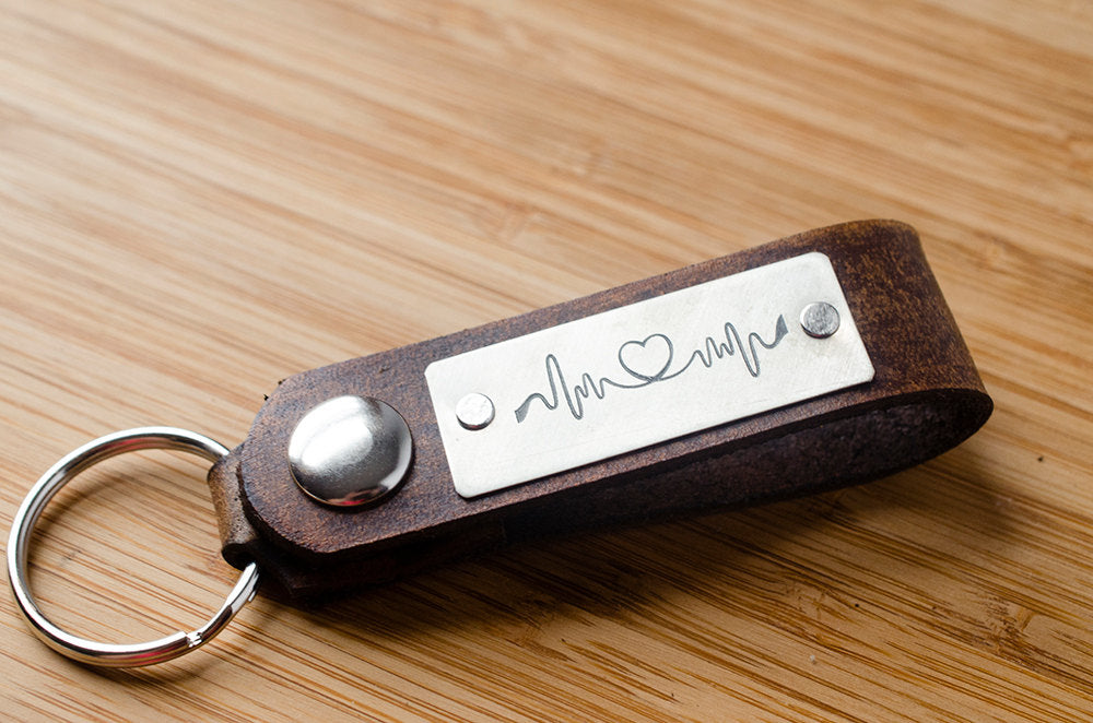 Love Heartbeat Leather Keychain