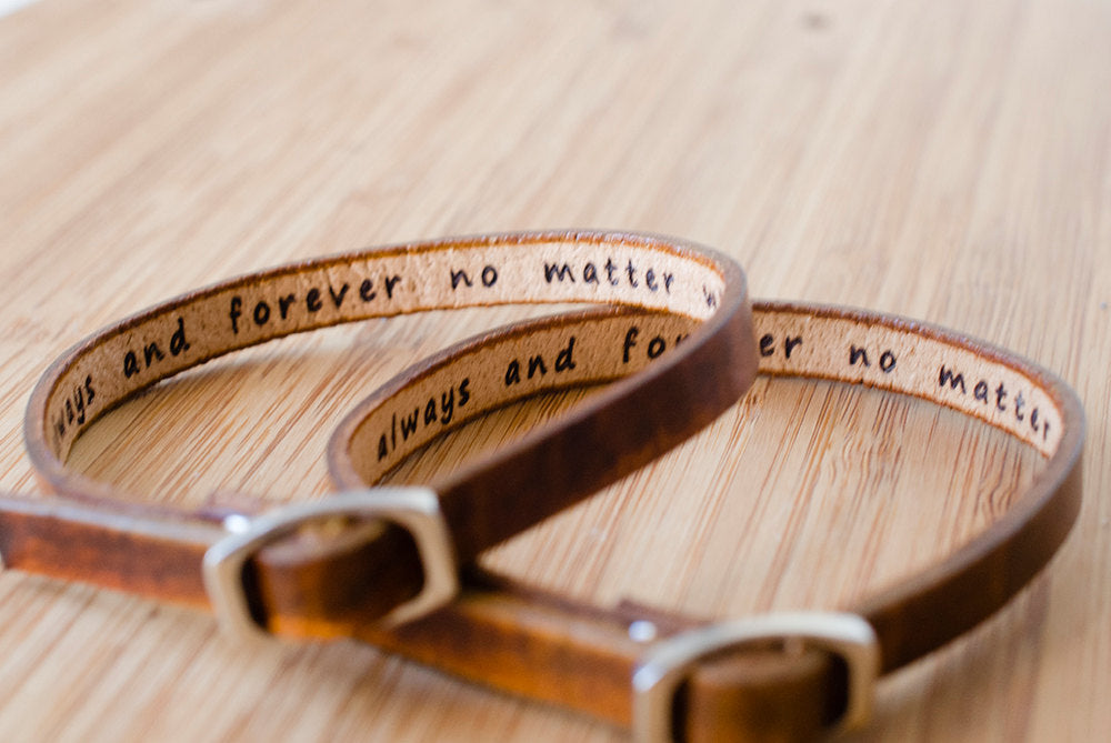 His and Hers  Pet Names Single Wrap Leather Bracelet - Set of Two