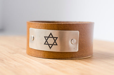 Star of David Leather - Leather Cuff