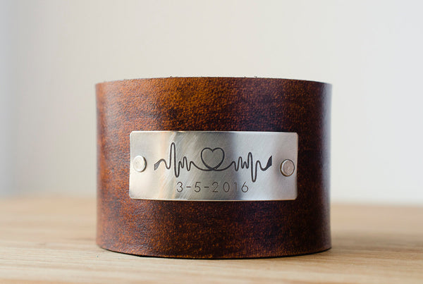 Heartbeat Lifeline Cuff with Custom Date on Wide Leather Cuff