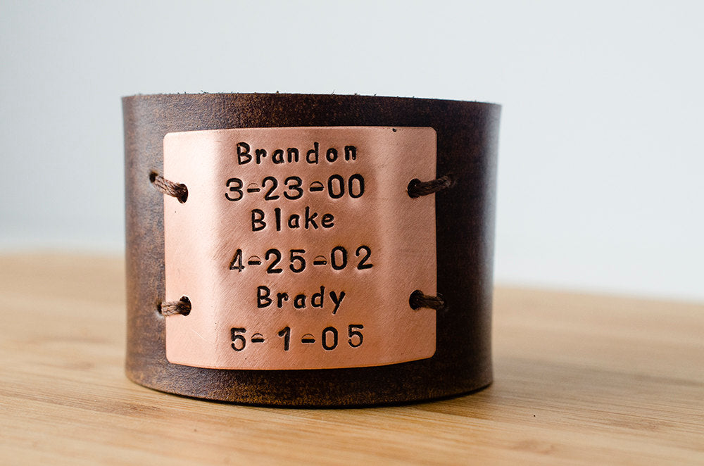 Hand Stamped Child's Name and Birth Date Custom Text on Wide Leather Cuff