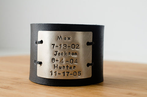Hand Stamped Child's Name and Birthdate on Wide Black Distressed Leather Cuff