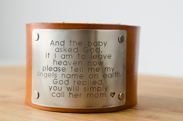 Moms are Angels on Earth - Wide Leather Cuff