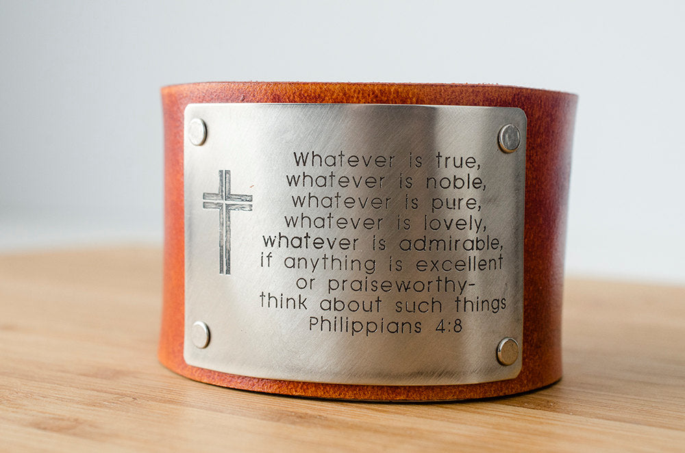 Philippians 4:8 Custom Scripture Bible Verse on Wide Leather Cuff