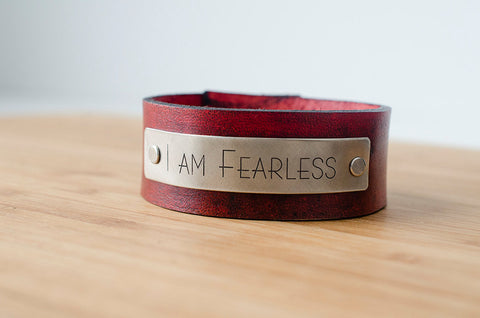 I Am Fearless - Leather Cuff