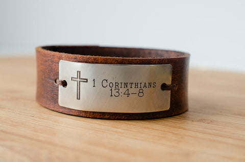 Scripture Cross with Custom Scripture on Minimal Leather Cuff