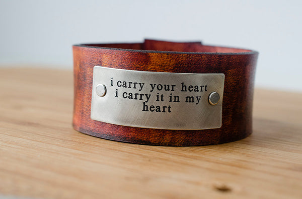 i carry your heart - ee cummings Leather Cuff