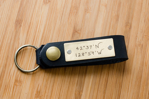 Latitude and Longitude Custom Leather Key