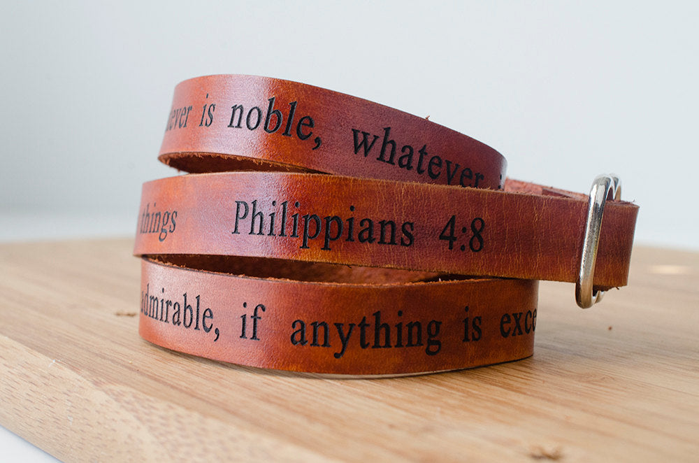Philippians 4:8 Scripture Bible Verse Wrap Bracelet - whatever is true, whatever is noble, whatever is right, whatever is pure