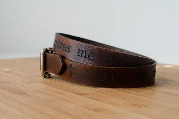 Philippians 4:13 - Bible Verse Leather Wrap Bracelet - I can do all this through him who gives me strength