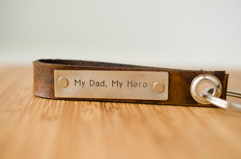 My Dad My Hero Skinny Leather Key Chain