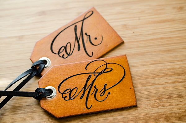 Mr. and Mrs. Travel - Leather Luggage Tag for Wedding Gift or Honeymoon