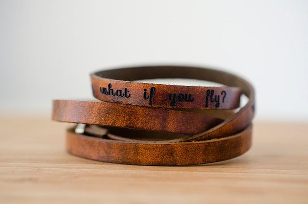 What if I Fall? Oh But My Darling What if You Fly - Ultra Long Leather Wrap Bracelet