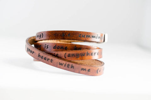 i carry your heart (in my heart) - e.e. cummings - Ultra Long Wrap Bracelet