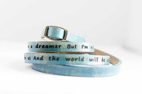 Imagine by John Lennon - Ultra Long Leather Wrap Bracelet