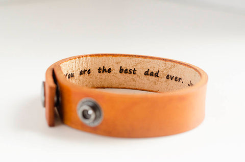Best Dad Ever Minimal Leather Cuff with Custom Secret Message Hidden Inside