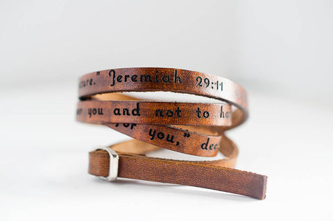For I know the plans I have for you Jeremiah 29:11 - Ultra Long Leather Wrap Bracelet
