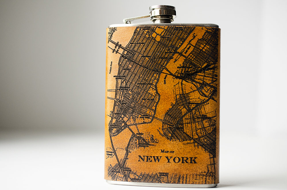 New York City Map Engraved Custom Leather Flask