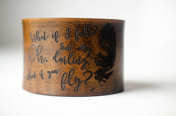 What if I Fall What If You Fly Feather - Wide Leather Cuff