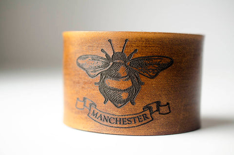 Bee Wide Leather Cuff