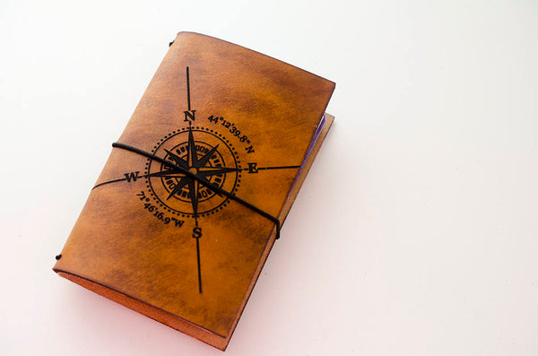 Custom Traveler's Notebook Cover // Compass Rose with Custom Coordinates // Custom Map GPS Location